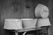 stock photo of washtub  - Old washtubs from Australia - JPG