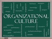 Organizational Culture Word Cloud Concept On A Blackboard