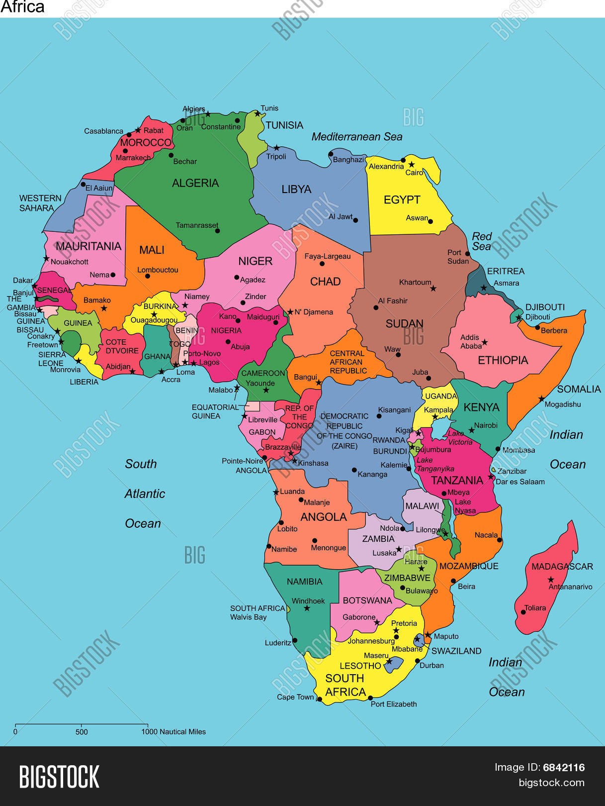 Africa with Editable Countries and Names Stock Vector Stock Photos Bi