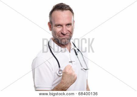 Enthusiastic Doctor Punching The Air