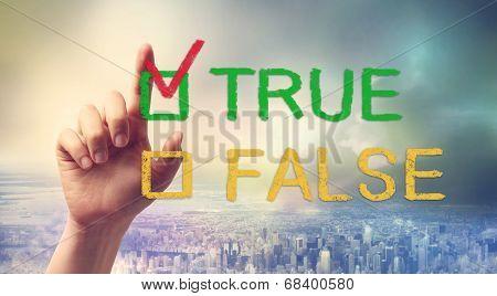 True Or False Checkbox With Hand