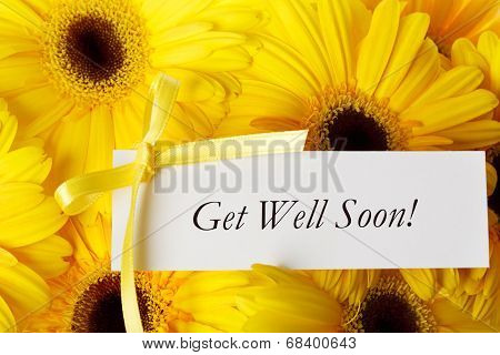 Get Well Soon Card With Yellow Gerberas