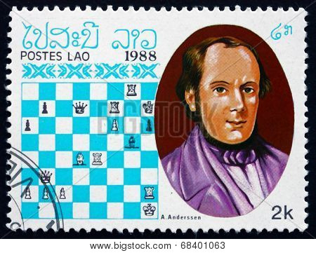 Postage Stamp Laos 1988 Adolf Anderssen, Chess Champion