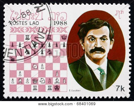 Postage Stamp Laos 1988 Emanuel Lasker, Chess Champion