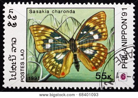 Postage Stamp Laos 1991 Japanese Emperor, Butterfly