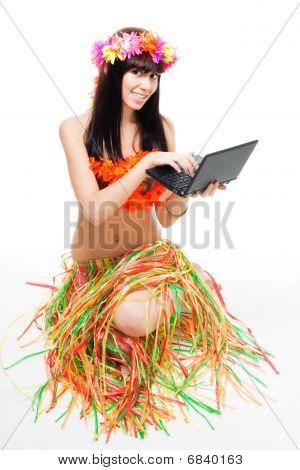 Native Woman In Bikini With Laptop