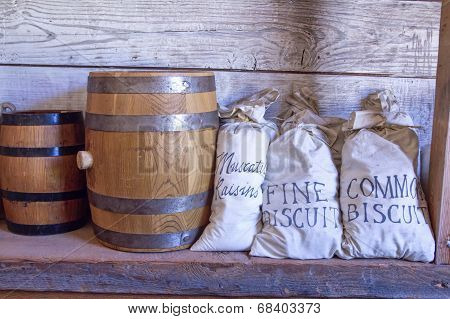 Barrels And Bags Of Food.