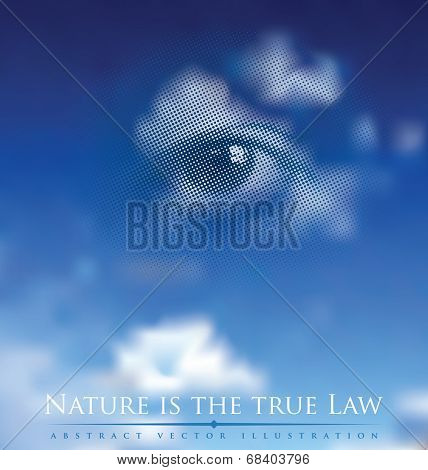 abstract vector illustration with God's eye in cloudy sky and proverb about nature