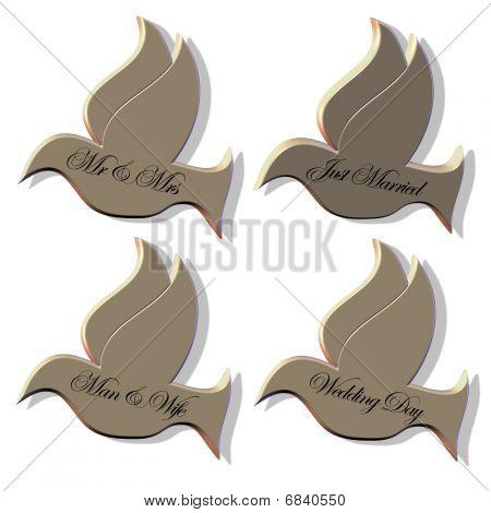 4 wedding doves