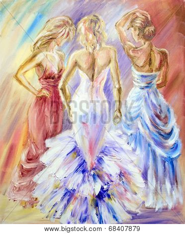 Beautiful women at the ball. Oil painting.