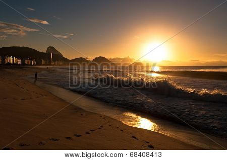 Sunrise in Copacabana Beach