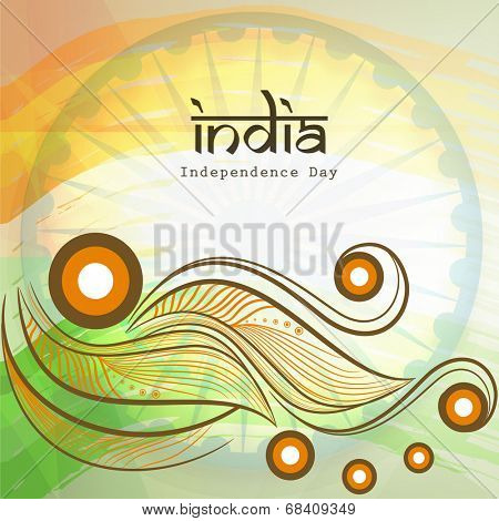 Beautiful floral design in Indian National Flag colors with stylish text India on national flag colors for 15th of August, Indian Independence Day celebrations.
