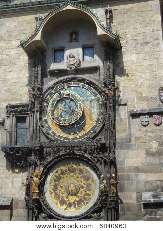 Famous Old Medieval Astronomical Clock In Prague, Capital Of Chech Republic.