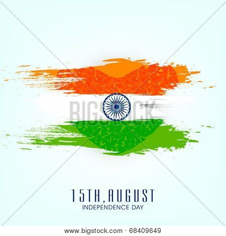 Beautiful concept for 15th of August, Indian Independence Day celebrations with ashoka wheel on blue background.
