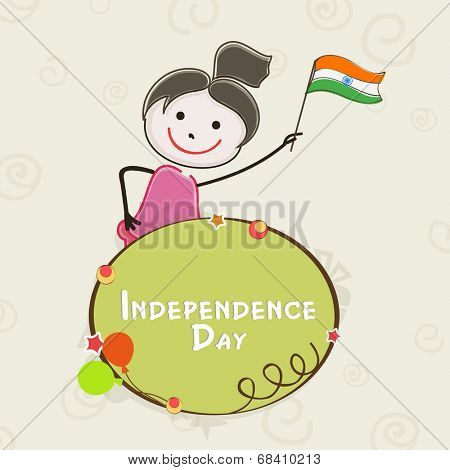 Kiddish banner with cute little girl holding flag on abstract background for 15th of August, Indian Independence Day celebrations.