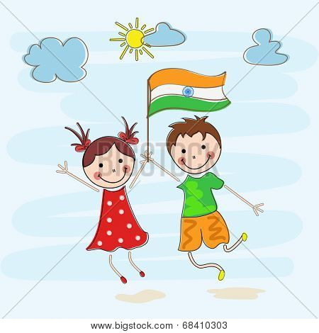 Happy little kids holding Indian National Flag on nature background for 15th of August, Indian Independence Day celebrations for 15th of August, Indian Independence Day celebrations.