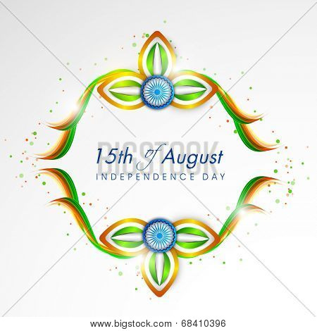 Shiny flower design in national flag colors with ashoka wheel on grey background for 15th of August, Indian Independence Day celebrations.