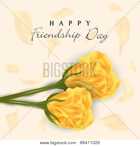 Beautiful yellow roses on abstract background for Happy Friendship Day celebrations.