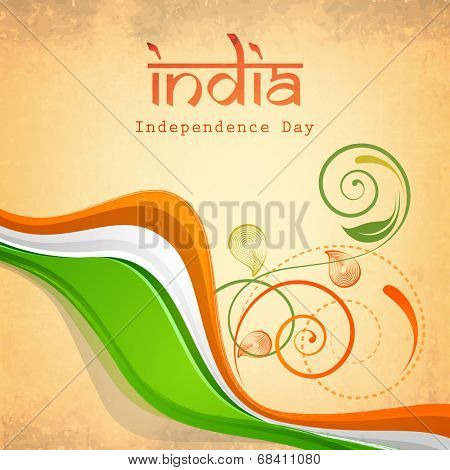 Poster, banner or flyer design with beautiful floral and waves in national flag colors on beige background for 15th of August, Indian Independence Day celebrations.