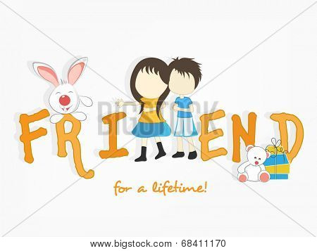 Cute little kids holding hands together with stylish text and bunny on abstract background.