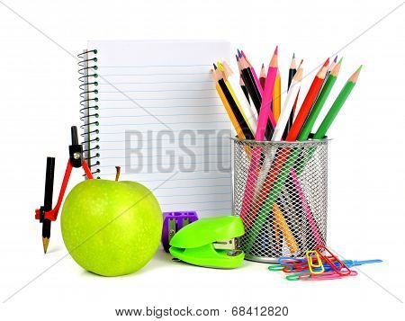 School supplies and blank notebook