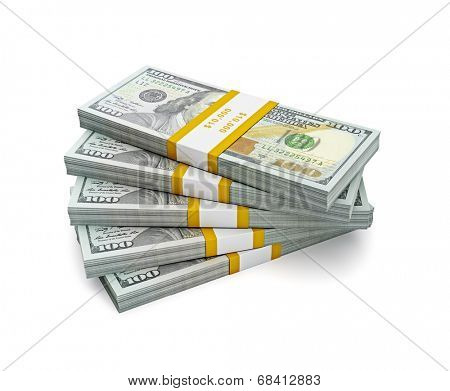 Creative business finance making money concept - stack of new 100 US dollars 2013 edition banknotes (bills) bundles isolated on white background money stack on white