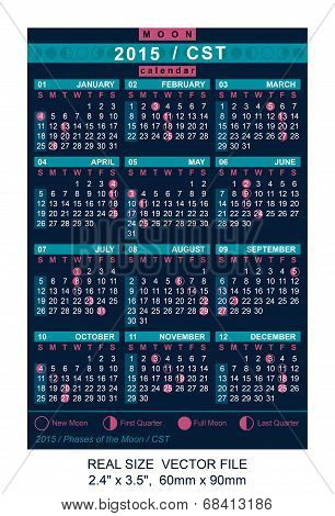 Vector Calendar 2015 With Phases Of The Moon/ Cst