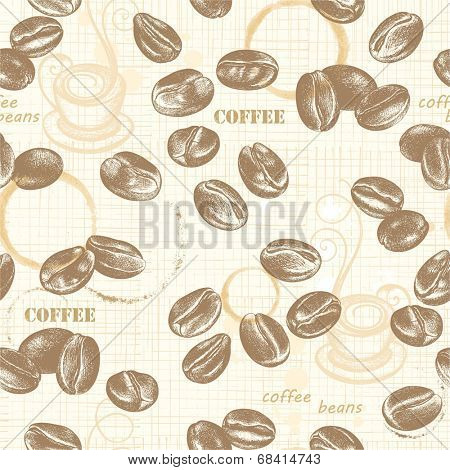 Seamless pattern with coffee beans, hand-drawn illustration in vintage style..