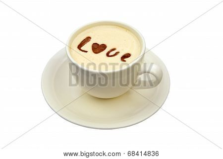 latte art - isolated cup of coffee with 'love' drawing
