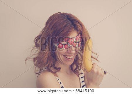 Superhero Hipster Holding A Banana Gun