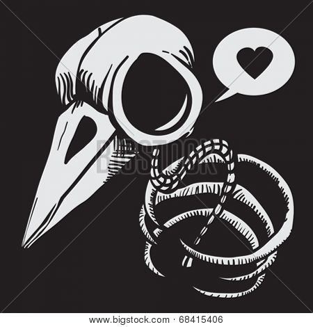 cartoon illustration of a bird skull with bones and speech bubble