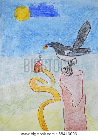 Magpie with the ring in its beak sitting on a red stake