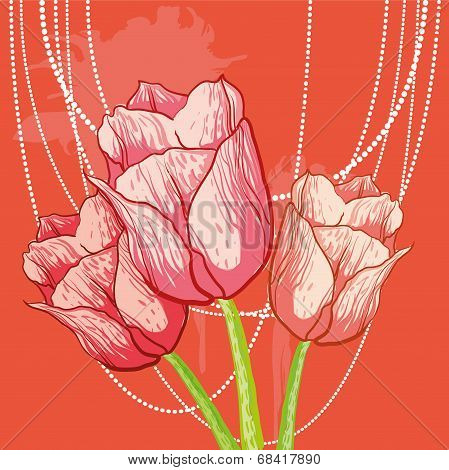 vector tulip background with peal beads