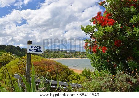 Beach access sign at Kaiteriteri, New Zealand