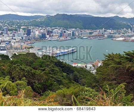 Wellington City & Harbour Vertical Panorama, New Zealand