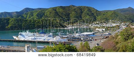 Picton & Ferry Terminal Panorama In Marlborough Sounds.