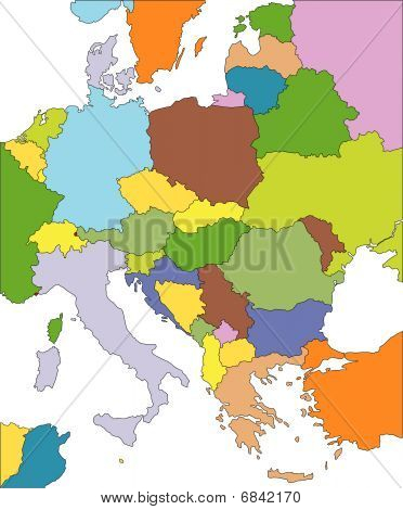 Eastern Europe with Editable Countries