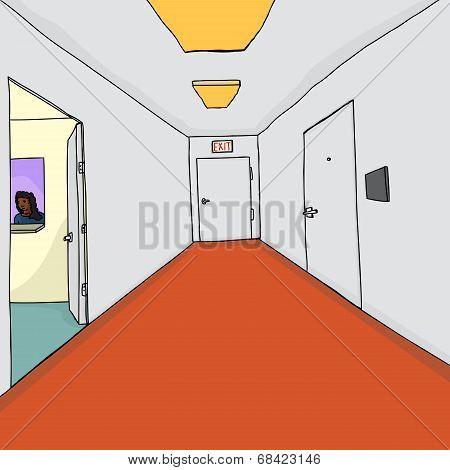 Receptionist In Office Doorway