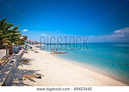 Beautiful Pefkochori sand beach on Kasandra peninsula, Greece.