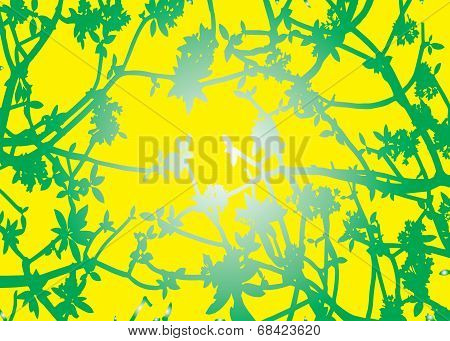 Silhouette Green Leaves Yellow Background Vector
