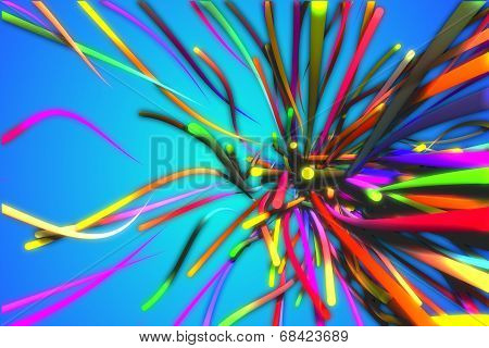 Rainbow Many Strands Line Glow Blue Background