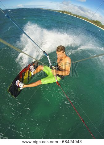 Kiteboarding, Fun in the Ocean, Extreme Sport.