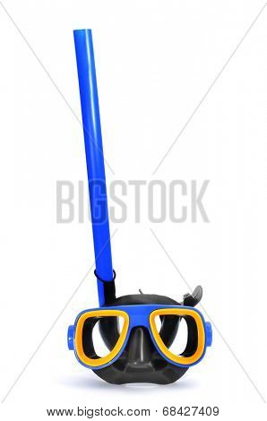 a blue, yellow and black diving mask and a snorkel on a white background