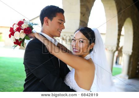 Groom And Bride At Wedding
