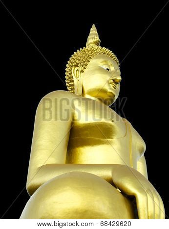 Golden Seated Buddha Image On Solid Black Background
