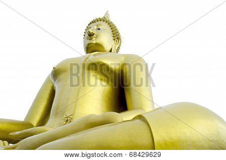 Golden Seated Buddha Image On White Background