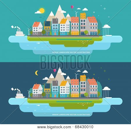 Flat Style Urban Landscape. Small Town on the Shore of the Ocean.