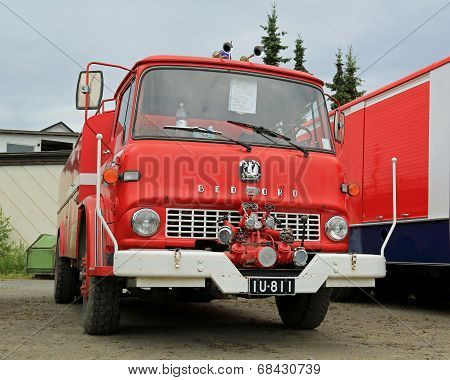 Red Vintage Bedford Tank Truck In A Show