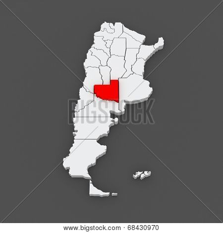 Map of La Pampa. Argentina. 3d