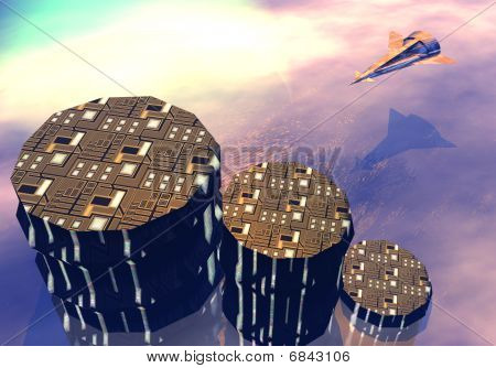 Landing of space shuttle